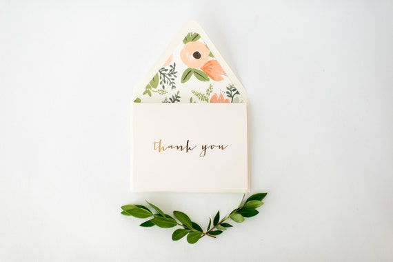 gold foil thank you cards +  lined envelopes (set of 10) // lola louie paperie
