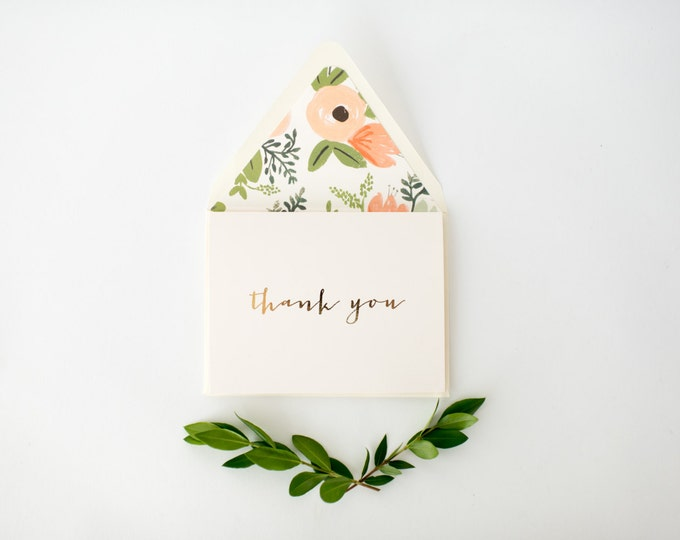 gold foil thank you cards +  lined envelopes (set of 10) // wedding thank you card // lola louie paperie