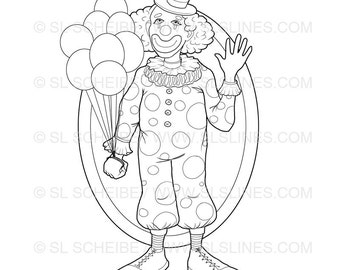 clown with balloons digital stamp digistamp clown with big shoes and polkadots adult coloring page circus sls lines - Clown Balloons Coloring Page