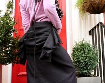 Bustle Long Wool Skirt --- Dark Navy / Black---Waist size 70-80cm