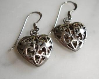 Sterling Silver Jewelry-Sterling Silver Earrings-Vintage 925 Hearts Earrings-Sweetheart Earrings