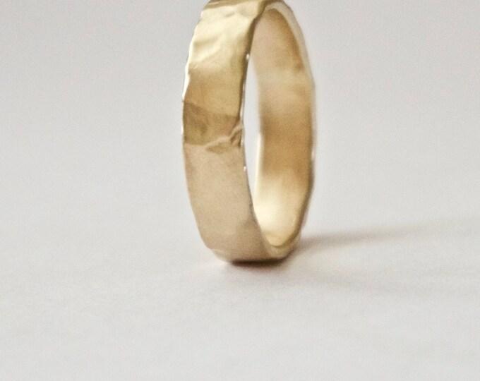 Gold Wedding Band - Organic Shape Ring - Unique Textured Ring  - 9 Carat Gold Molten Ring - Alternative Wedding - Rustic Wedding Ring
