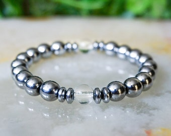 Hematite Bracelet,Jewelry for Men,Beaded Bracelets Men,Mens Bracelet,Gift for Him,Man Beaded Bracelet,Gemstone Bracelet Mens,Silver Jewelry