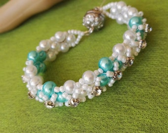Hand made royal bracelet  light blue and white swarovski pearls magnetic clasp