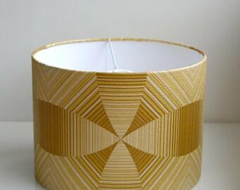 Retro Lampshade Handmade with Vintage Wallpaper-Brown/Green/Handmade 30cm Drum
