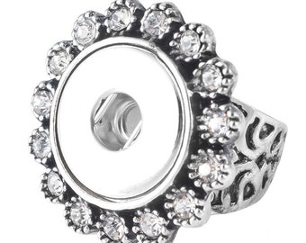 Silver Tone Flower Shape Snap Ring - Size 7