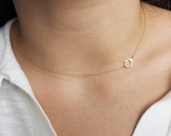 Sideways Hamsa Necklace, Available in Sterling Silver, Gold Filled and Rose Gold Filled