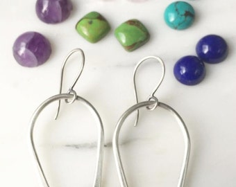 Choose Your Stone>>> Turquoise Earrings >>> Hoop Earrings >>> Southwestern Jewelry >>> Simple Boho Earrings