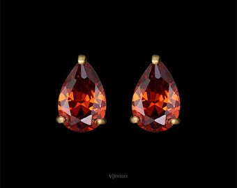 Drop Stud Earrings - Amber Earrings - Teardrop Earring - Pear Earrings - Wedding Earrings - Cubic Zirconia Earrings - Cognac Earrings-AE0149