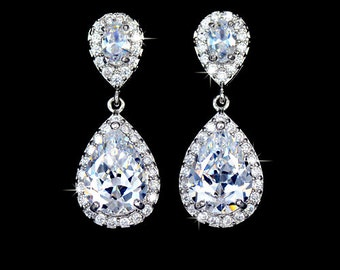 Cubic Zirconia Wedding Earrings - Teardrop Earrings - Crystal Earrings - Drop Earrings - Bridal Earrings - Bridesmaid Earrings - CZ - AE0083