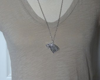 Silver Wolf/Dire Wolf Necklace for Men or Women/Unisex Necklace - Ready to Ship