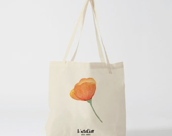 X93Y Tote bag fleur orange, sac à fourre-tout, sac à main, sac à langer, sac coton, sac courses, sac cours, sac plage, shopping baG