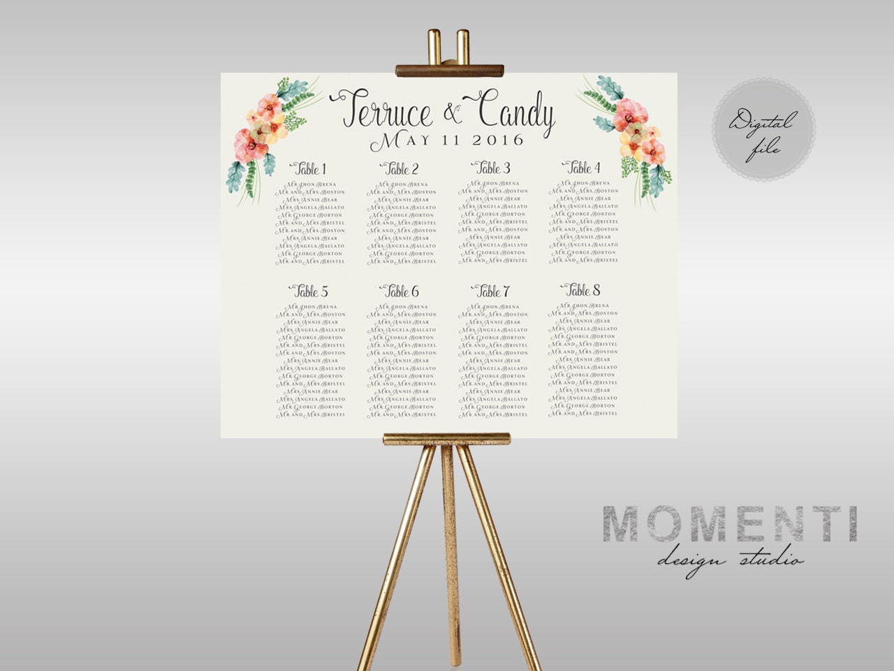 Diy seating chart – Guest Seating Chart Template