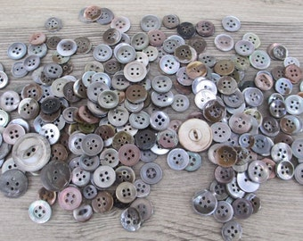 Gray Brown Antique Pearl Buttons 200+ Vintage Mother of Pearl Shell Button Lot Clothes Craft Sewing Notions 1800's 1900's Haberdashery Grey