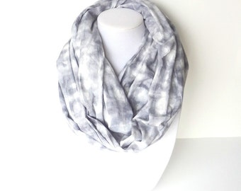 Gray Cotton Scarf, Blue and White Scarf, Cotton Infinity Scarf, Lightweight Scarf, Christmas Gift