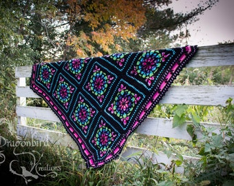 Stained Glass Afghan, Crocheted Afghan, Hippie Afghan, Stained Glass Blanket, Crocheted Blanket, Bright Colored Afghan, Stained Glass Throw