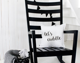 Let's Cuddle - Handmade Decorative Printed Pillow Cover - Cushion Cover - Natural Material - Perfect Gift