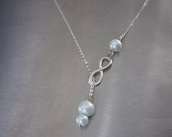 Infinity lariat necklace, Infinity jewellery, Bridesmaids gift, pearl lariat necklace, UK seller, Bridal necklace UK