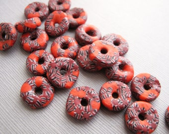 8pcs Red Millefiori Style African Beads, Rustic Tribal Recycled Glass Beads, Fair Trade Beads 14x5mm - B-091AMCFS-10