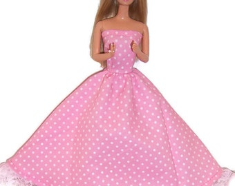 Fashion Doll Clothes-Light Pink Polka Dot Strapless Dress