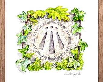 Awen symbol, Giclee print of watercolour painting, 210mm square