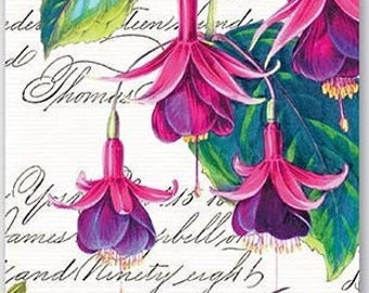 TWO (2) Fuchsia Flowers, Pink Flowers, Hummingbirds,Paper Hostess Napkins for Decoupage and Paper Crafts