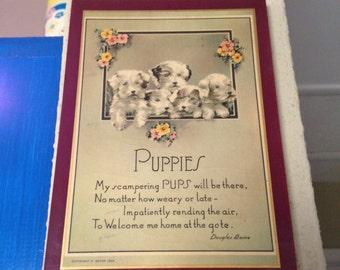 1939 Puppies Poem Wall Decor