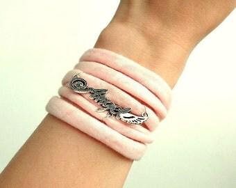 cute bracelet with charm, angel bracelet wrist wrap jersey fancy wristband multistrand tattoo cover summer jewelry t shirt bracelet
