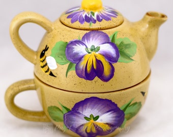 Teapot - One Cup Set - 3pcs - Pansy Design - Hand Painted