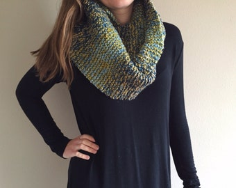Handknit Cowl Knit Infinity Scarf // Shades of Blue, Green, and Brown