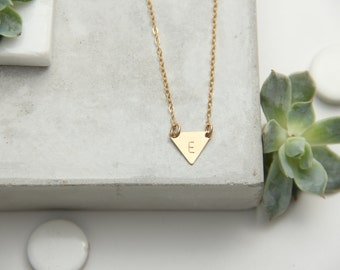 Small Triangle Disc Necklace, Initial,  Gold Filled or Sterling Silver