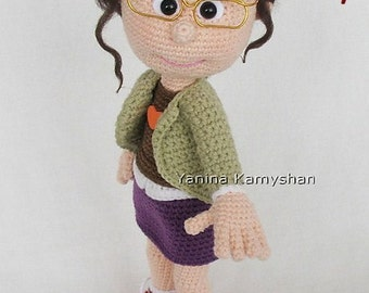 Girl in glasses, amigurumi crochet pattern pdf