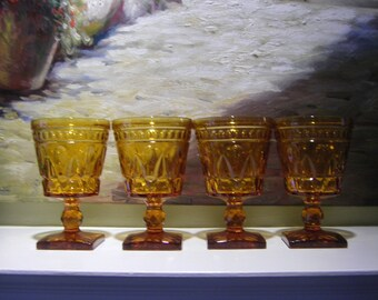 Indiana Glass Colony Park Lane Amber Wine Glasses Goblets Set of 4