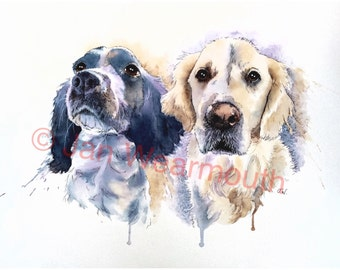 Double Pet portrait, custom dog portrait in Watercolour, pen and ink from your photographs. Original art painting. Spaniel and retriever