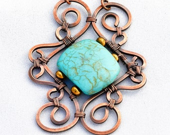 OOAK Antiqued Copper & Turquoise Pendant with Necklace Chain