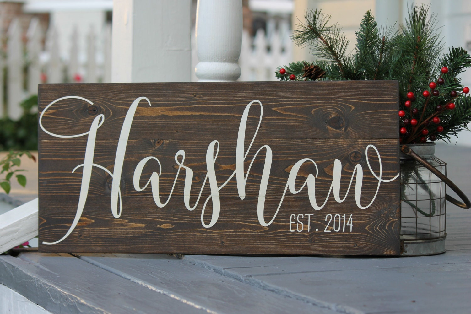 Last Name Sign Custom Slatted Wood Sign Family By