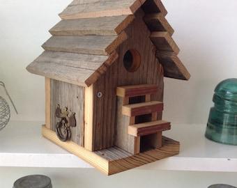 Bird House-Reclaimed Barnwood Birdhouse Functional Birdhouse Primitive Birdhouse Rustic Birdhouse Wren House