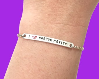 """Customizable """"I <3 Horror Movies"""" Engraved Stamped Bracelet, Made-to-Order"""