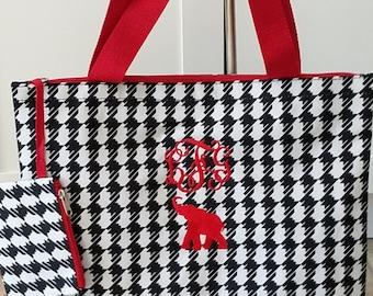 Monogrammed Houndstooth Totes / Alabama Fans/ Game Day Bag/ Best Friend/ Gift Idea!