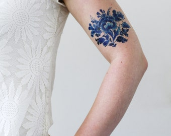 Delft Blue floral temporary tattoo / Delft blue temporary tattoo / vintage temporary tattoo / bohemian temporary tattoo / something blue