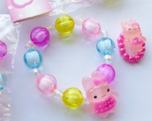 Childrens Party bag fillers girls Rabbit bracelet & ring Set strechy mixed colors kids fun jewellery bunny bead charms toys wholesale