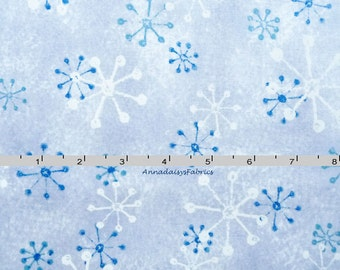 Blue Snowflake Fabric, Maywood Studio 8744 Warm At Heart, Gray & Blue Winter Fabric, Blue Christmas Fabric, Quilting Cotton Yardage