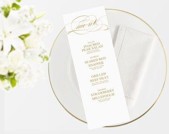 Wedding Menu Template | Instant Download  | Printable menu |  DYI I Gold calligraphy