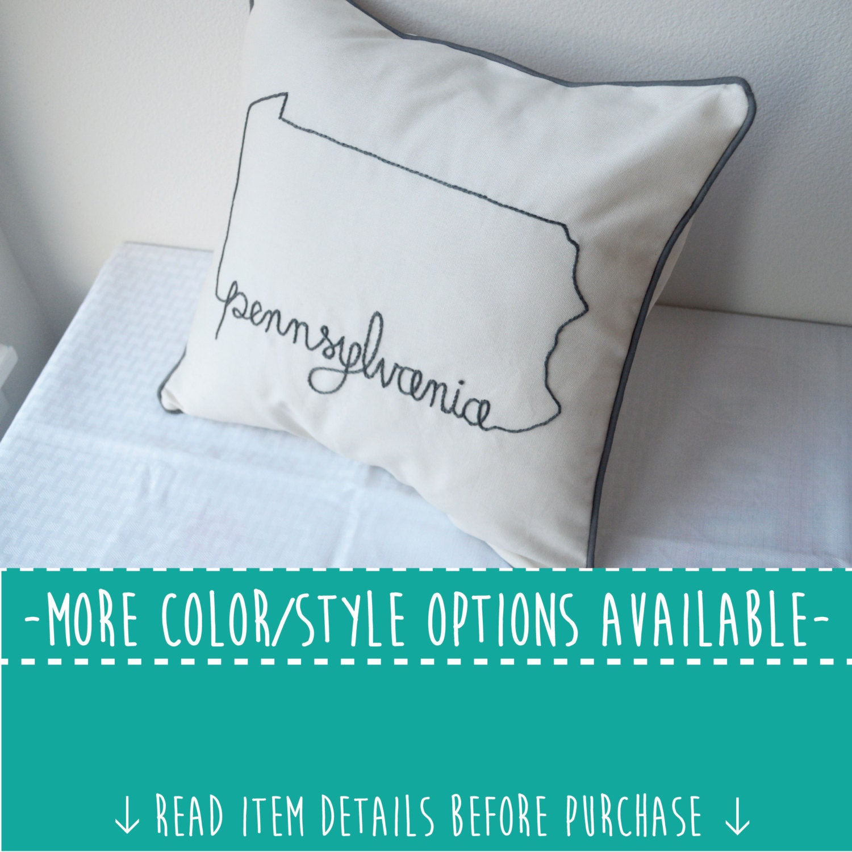 Embroidered State Throw Pillows : Pennsylvania State Embroidered Decorative Throw Pillow Cover