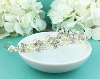 Pearl Wedding Tiara, bridal tiara, wedding headpiece, rhinestone tiara, pearl tiara, crystal bridal accessories, wedding tiara 292357719