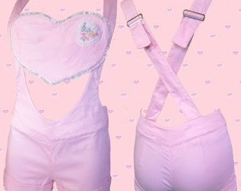 3-way lacey pastel PINK HEARTBREAKER cute shorts and braces PLAYSUIT
