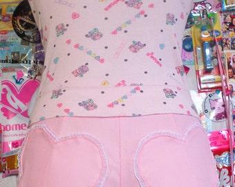Frilly pastel PINK HEARTBREAKER cute SHORTS