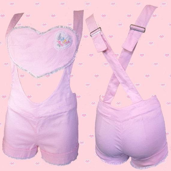 3-weg lacey pastel roze HEARTBREAKER leuke korte broek en bretels BOXPAKJE