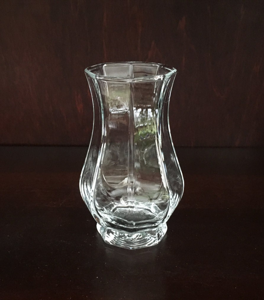 Octagonal Clear Glass Vase 4 Tall Glass Vase Ribbed