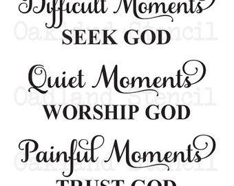 "Inspirational STENCIL *Happy Moments Praise God...Every Moment Thank God* 12""x24"" for Painting Signs,Bible Quotes,Airbrush, Crafts, Wall Art"